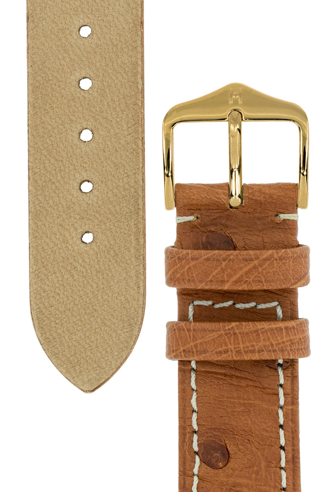 Hirsch Massai Genuine Ostrich Leather Watch Strap in Gold Brown with Cream Contrast Stitch (Underside & Tapers)