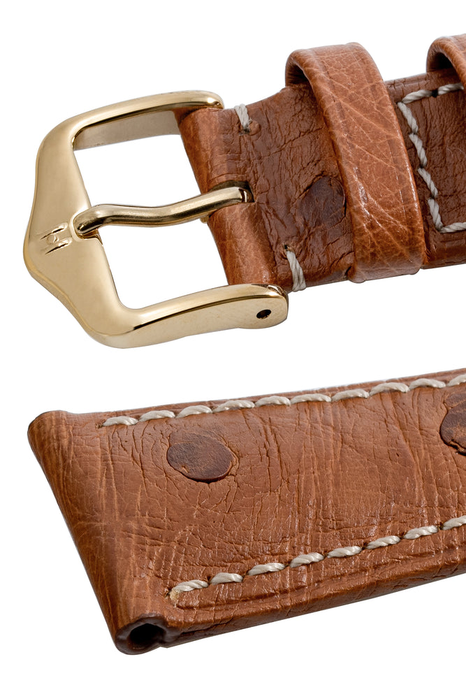 Hirsch Massai Genuine Ostrich Leather Watch Strap in Gold Brown with Cream Contrast Stitch