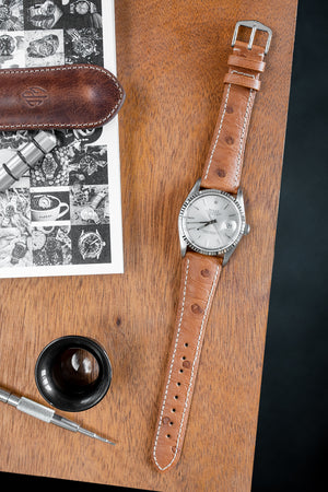 Hirsch Massai Genuine Ostrich Leather Watch Strap in Gold Brown with Cream Contrast Stitch (Promo Photo)