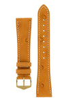 Hirsch Massai Genuine Ostrich Leather Watch Strap in Honey Brown with Cream Contrast Stitch (with Polished Gold Steel H-Tradition Buckle)