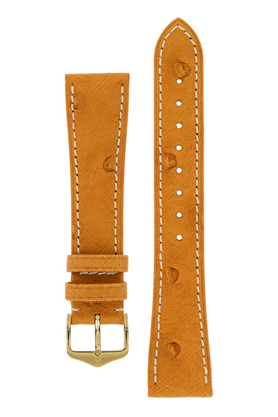 Hirsch MASSAI OSTRICH Leather Watch Strap in HONEY With WHITE Stitching