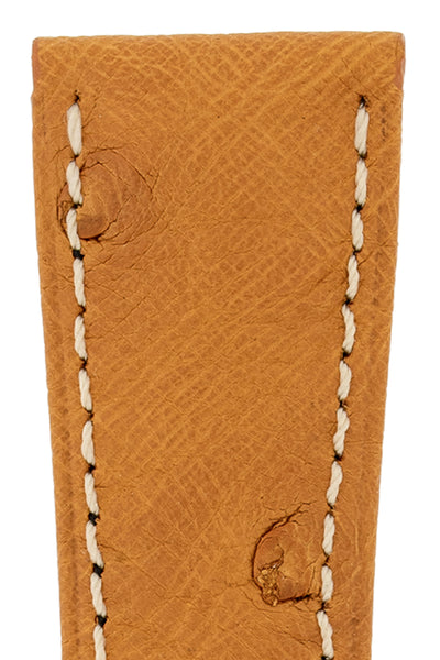 Hirsch Massai Genuine Ostrich Leather Watch Strap in Honey Brown with Cream Contrast Stitch (Close-Up Texture Detail)