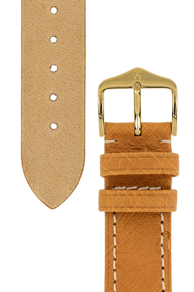 Hirsch Massai Genuine Ostrich Leather Watch Strap in Honey Brown with Cream Contrast Stitch (Underside & Keepers)
