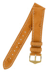 Hirsch Massai Genuine Ostrich Leather Watch Strap in Honey Brown with Cream Contrast Stitch