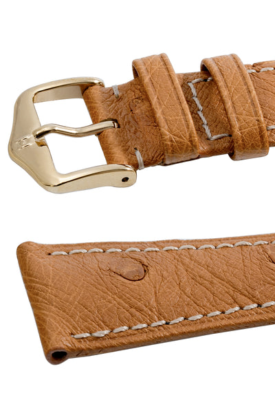 Hirsch Massai Genuine Ostrich Leather Watch Strap in Honey Brown with Cream Contrast Stitch (Keepers)