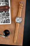 Hirsch Massai Genuine Ostrich Leather Watch Strap in Honey Brown with Cream Contrast Stitch (Promo Photo)