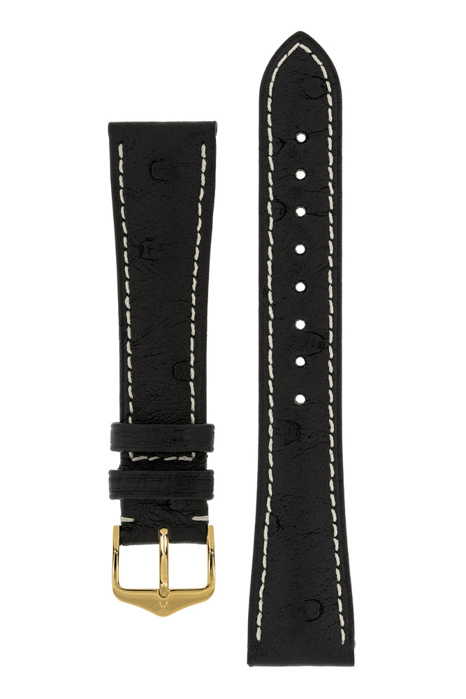 Hirsch Massai Genuine Ostrich Leather Watch Strap in Black with Cream Contrast Stitch (with Polished Gold Steel H-Tradition Buckle)