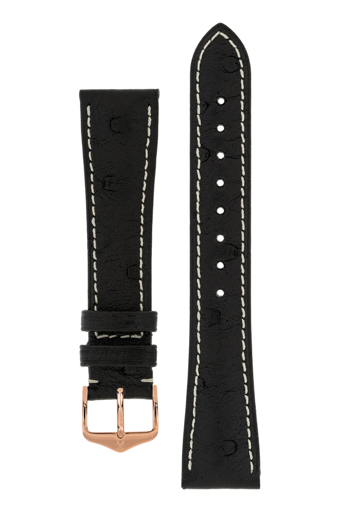 Hirsch Massai Genuine Ostrich Leather Watch Strap in Black with Cream Contrast Stitch (with Polished Rose Gold Steel H-Tradition Buckle)