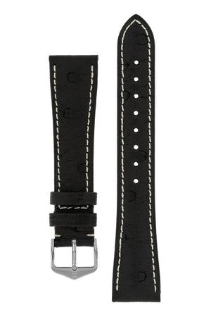Hirsch Massai Genuine Ostrich Leather Watch Strap in Black with Cream Contrast Stitch (with Polished Silver Steel H-Tradition Buckle)