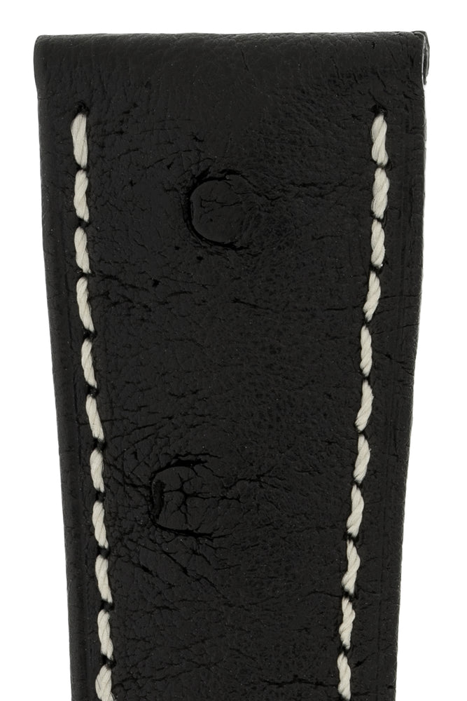 Hirsch Massai Genuine Ostrich Leather Watch Strap in Black with Cream Contrast Stitch (Close-Up Texture Detail)