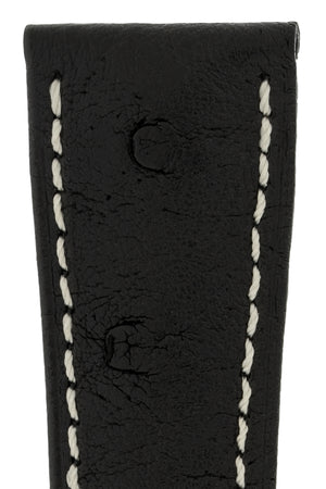 Hirsch MASSAI OSTRICH Leather Watch Strap in BLACK With WHITE Stitching
