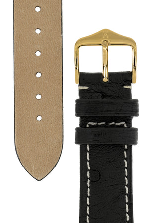 Hirsch Massai Genuine Ostrich Leather Watch Strap in Black with Cream Contrast Stitch (Underside & Tapers)