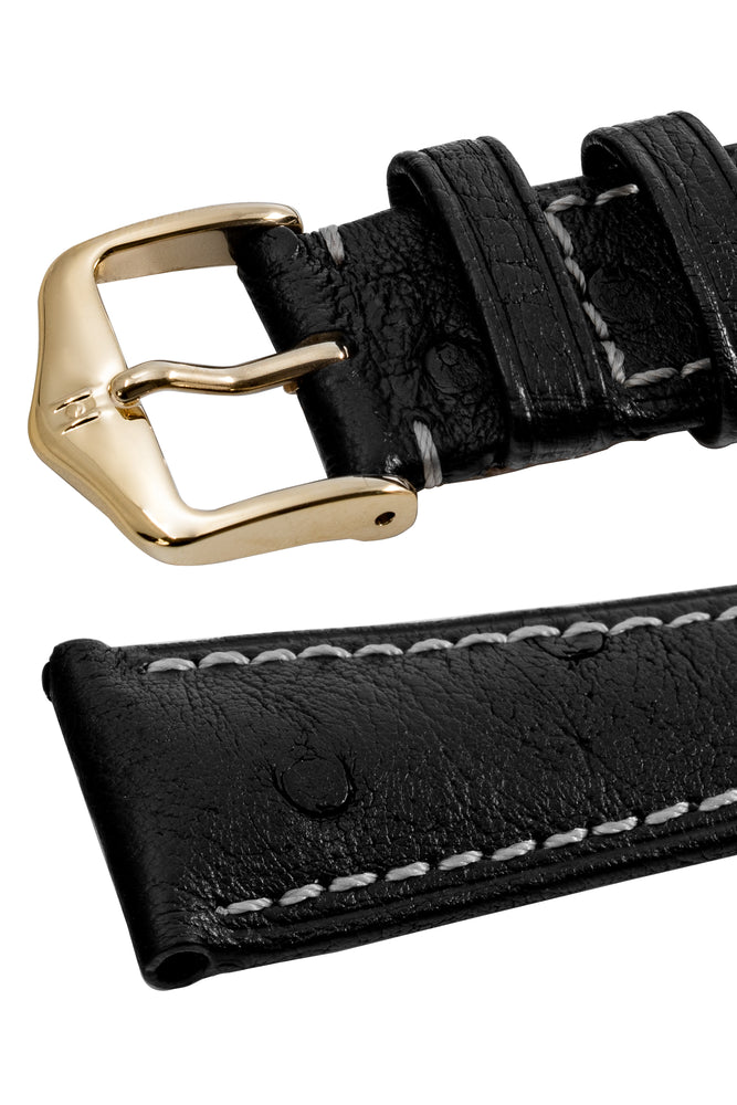 Hirsch Massai Genuine Ostrich Leather Watch Strap in Black with Cream Contrast Stitch (Keepers)