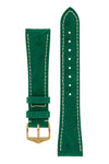 Hirsch Massai Genuine Ostrich Leather Watch Strap in Green with Cream Contrast Stitch (with Polished Gold Steel H-Tradition Buckle)