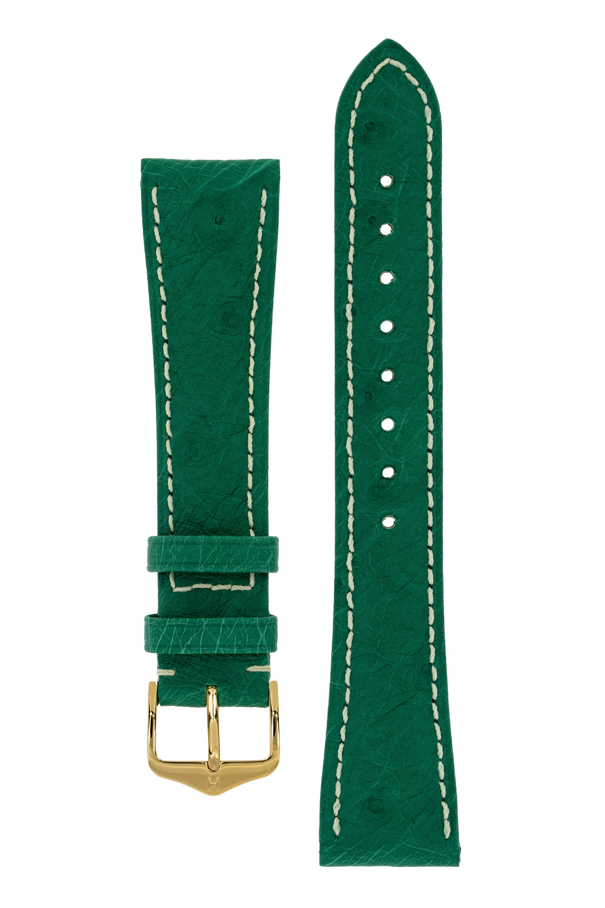 Hirsch MASSAI OSTRICH Leather Watch Strap in GREEN With WHITE Stitching