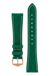 Hirsch Massai Genuine Ostrich Leather Watch Strap in Green with Cream Contrast Stitch (with Polished Rose Gold Steel H-Tradition Buckle)