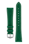 Hirsch Massai Genuine Ostrich Leather Watch Strap in Green with Cream Contrast Stitch (with Polished Silver Steel H-Tradition Buckle)
