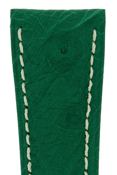 Hirsch Massai Genuine Ostrich Leather Watch Strap in Green with Cream Contrast Stitch (Close-Up Texture Detail)