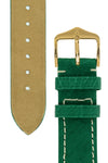 Hirsch Massai Genuine Ostrich Leather Watch Strap in Green with Cream Contrast Stitch (Underside & Tapers)