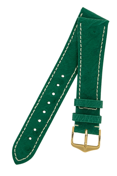 Hirsch Massai Genuine Ostrich Leather Watch Strap in Green with Cream Contrast Stitch