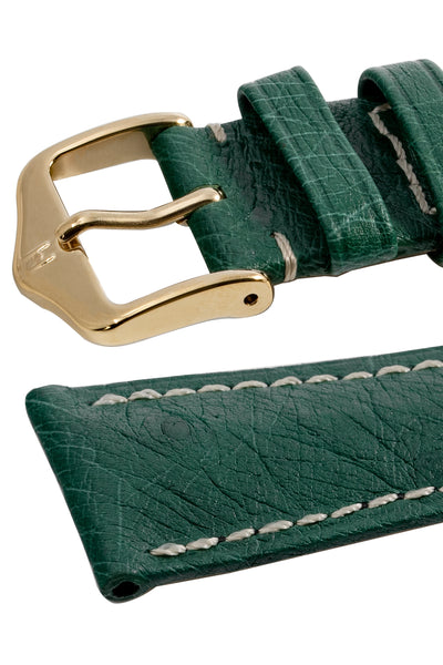 Hirsch Massai Genuine Ostrich Leather Watch Strap in Green with Cream Contrast Stitch (Keepers)