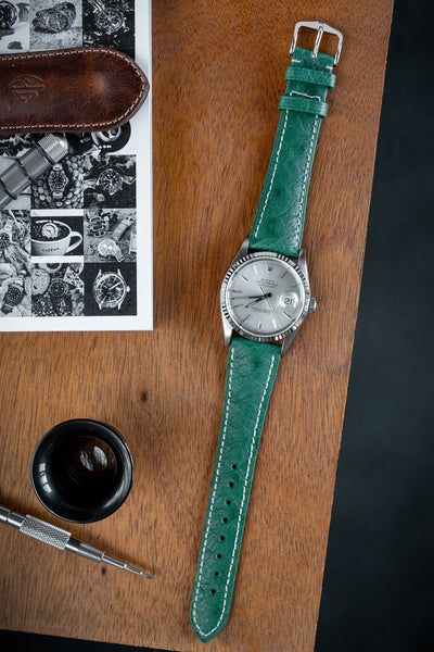 Hirsch Massai Genuine Ostrich Leather Watch Strap in Green with Cream Contrast Stitch (Promo Photo)