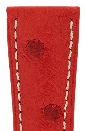 Hirsch Massai Genuine Ostrich Leather Watch Strap in Red with Cream Contrast Stitch (Close-Up Texture Detail)