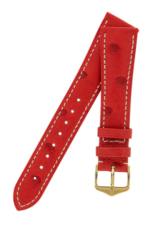 Hirsch Massai Genuine Ostrich Leather Watch Strap in Red with Cream Contrast Stitch