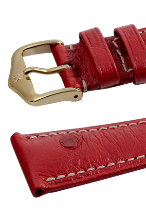 Hirsch Massai Genuine Ostrich Leather Watch Strap in Red with Cream Contrast Stitch (Keepers)