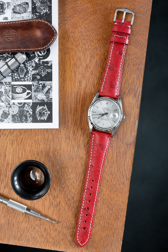 Hirsch Massai Genuine Ostrich Leather Watch Strap in Red with Cream Contrast Stitch (Promo Photo)