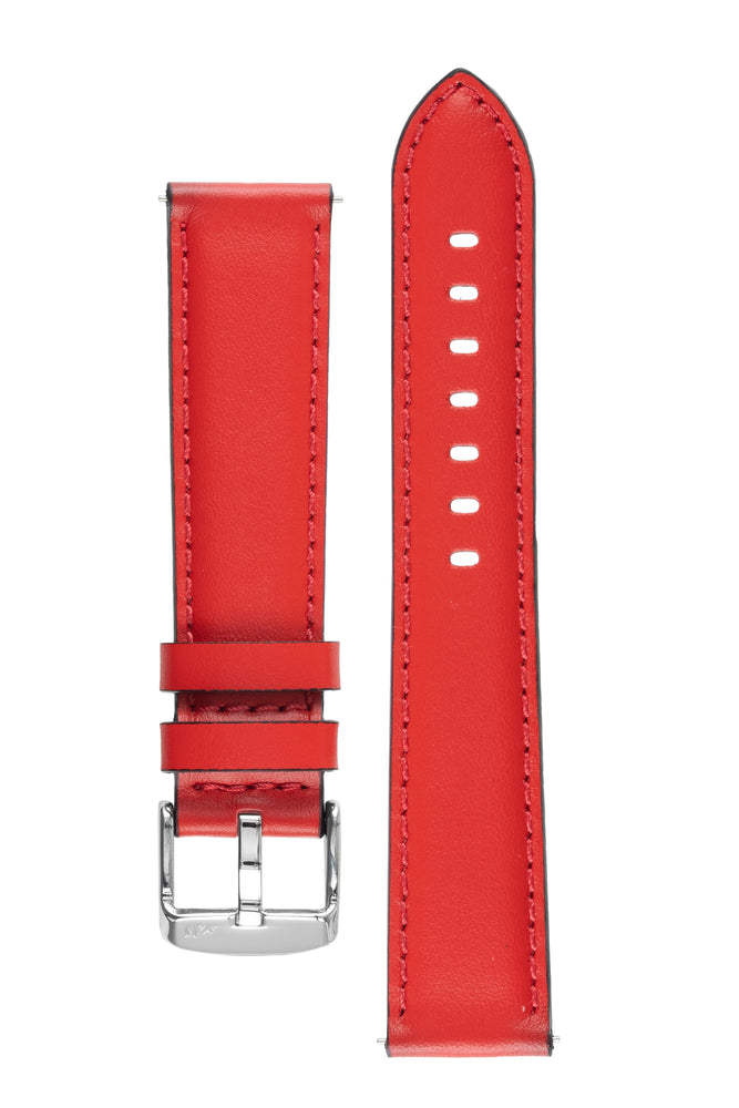 Morellato CROQUET Quick-Release Leather Watch Strap in RED