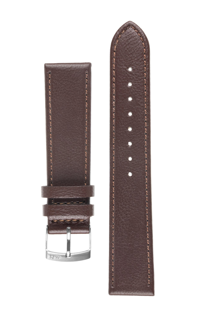 Morellato LAURO Goatskin-Grain Vegan Leather Watch Strap in BROWN