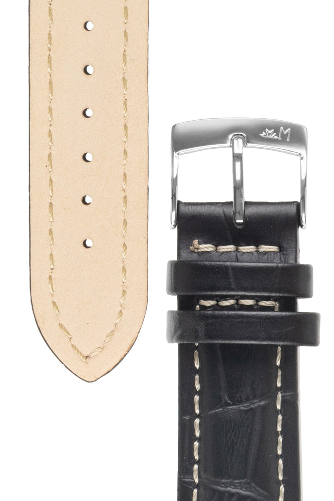 Morellato PLUS Alligator-Embossed Calfskin Leather Watch Strap in BLACK