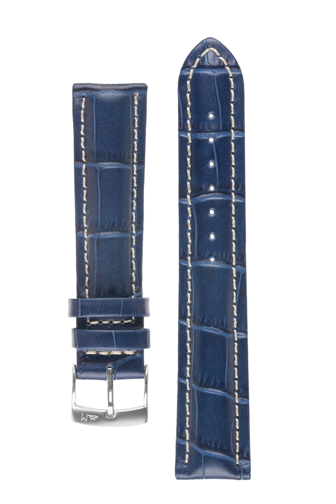 Morellato PLUS Alligator-Embossed Calfskin Leather Watch Strap in BLUE