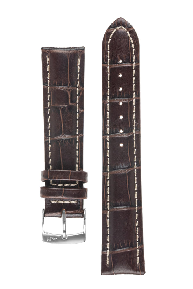 Morellato PLUS Alligator-Embossed Calfskin Leather Watch Strap in BROWN