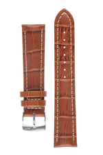 Morellato PLUS Alligator-Embossed Calfskin Leather Watch Strap in GOLD BROWN