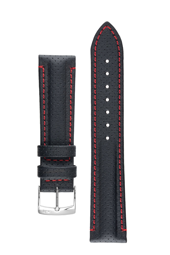 Morellato RACE Motorsport Microfibre Watch Strap in BLACK with RED Stitch
