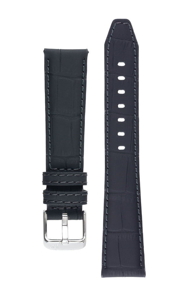Morellato SOCCER Alligator-Embossed Calfskin Leather Watch Strap in BLACK