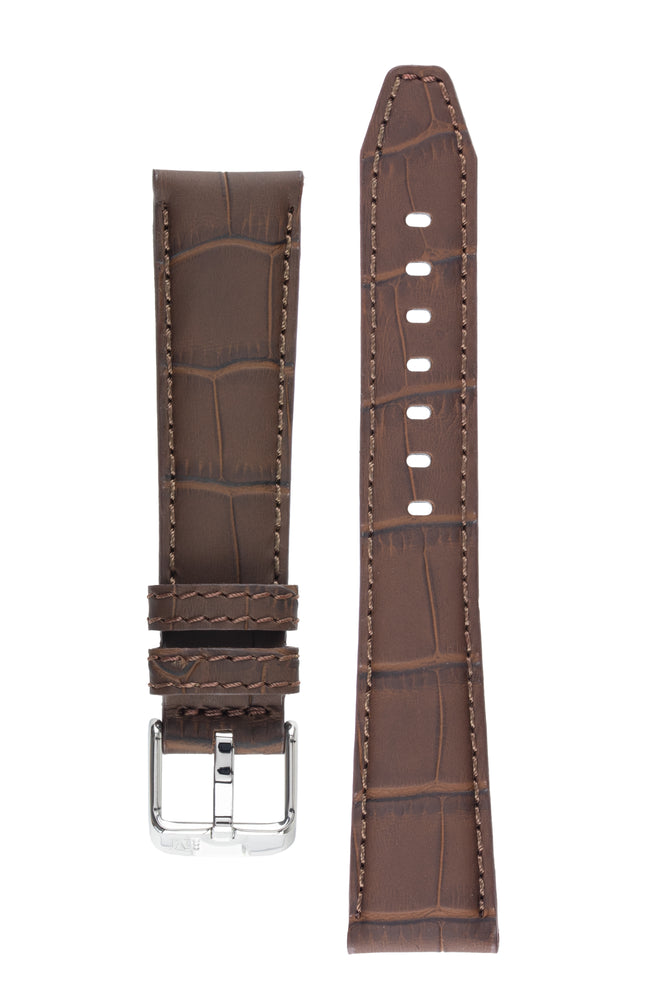 Morellato SOCCER Alligator-Embossed Calfskin Leather Watch Strap in BROWN