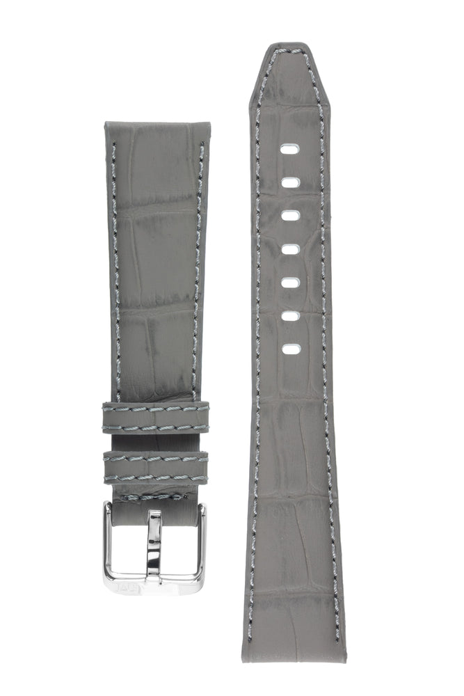 Morellato SOCCER Alligator-Embossed Calfskin Leather Watch Strap in GREY