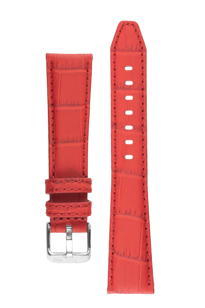 Morellato SOCCER Alligator-Embossed Calfskin Leather Watch Strap in RED