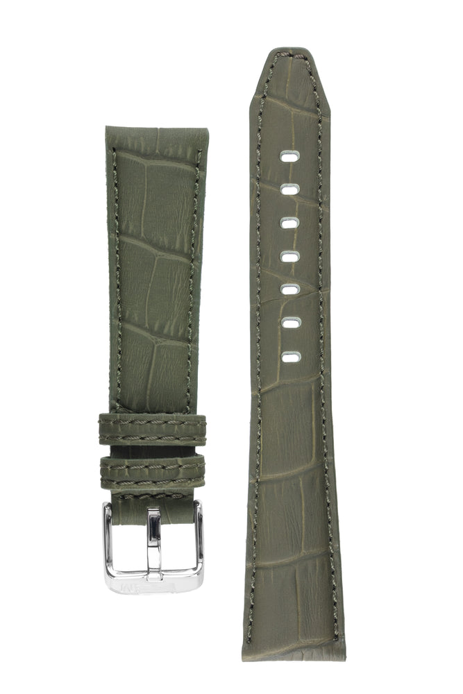 Morellato SOCCER Alligator-Embossed Calfskin Leather Watch Strap in GREEN