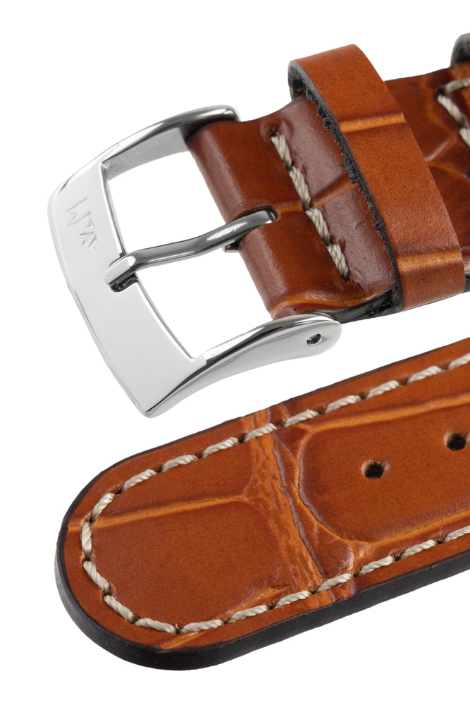 Morellato GUTTUSO Alligator-Embossed Leather Watch Strap in GOLD BROWN