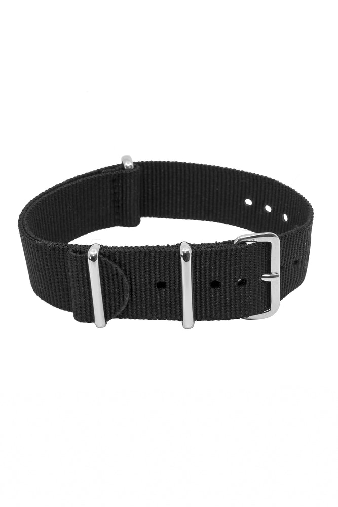 NATO Watch Strap in BLACK with Polished Buckle and Keepers