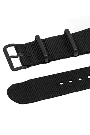NATO Watch Strap in BLACK with PVD Buckle and Keepers