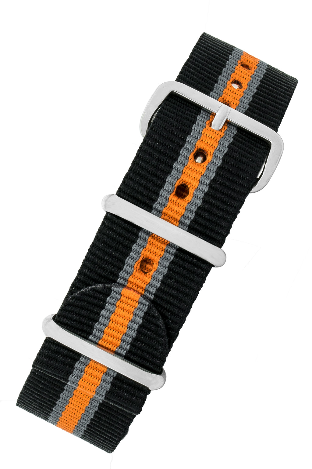 Nato Watch Strap in BLACK/GREY/ORANGE with Polished Buckle and Keepers