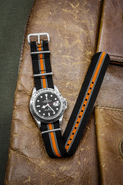 Nato Watch Strap In Black Grey Orange With Polished Buckle