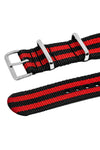 NATO Watch Strap in BLACK / RED Stripes with Polished Buckle & Keepers