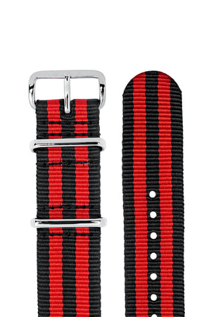 NATO Watch Straps in BLACK / RED Stripes with Polished Buckle & Keepers