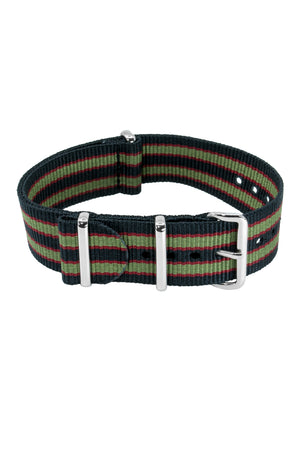 NATO Watch Straps in BLACK/OLIVE/RED with Polished Buckle and Keepers